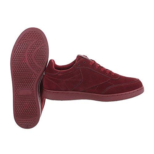 Schuhcity24 Herren Schuhe Sneaker Freizeitschuhe Weinrot