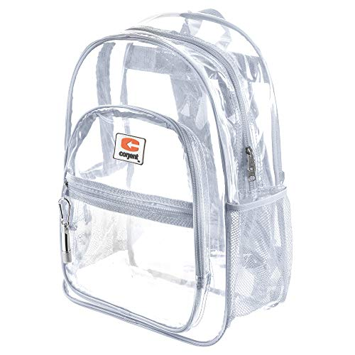 "(Clear School Backpack with Padded Straps & ""Bonus LED Flashlight"" (White))"