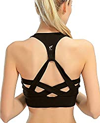 freeskin Padded Strappy Sports Bra Fitness Running Yoga Bra Workout Gym Top for Women
