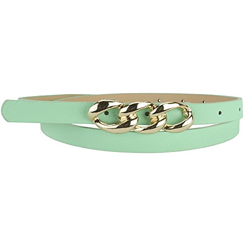 Leather Belt with Design Buckle (Green / Mint)