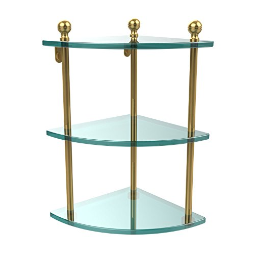Glass Triple Shelf Brass Allied - Allied Brass MA-6-PB Triple Corner Glass Shelf, Polished Brass