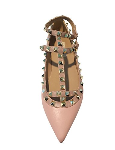 Matte Trim Studs Pink Pastel Strappy Pan Nude Ballerina Kaitlyn Flats Leather Studded Gold qA84vnxwf