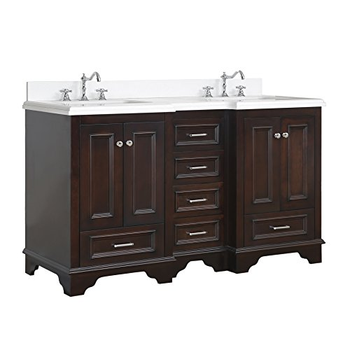Nantucket 60-inch Double Bathroom Vanity (Quartz/Chocolate): Includes Chocolate Cabinet with Soft Close Drawers, Quartz Countertop, and Two Ceramic Sinks