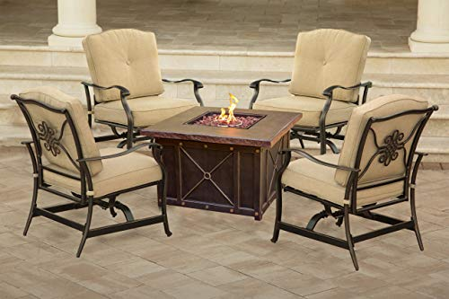 Hanover SUMMRNGHT5PCTAN Summer Night 5 Piece Fire Pit Conversation Set with Natural Oat Cushions Outdoor Furniture, Tan (Conversation Sets With Fire Pit)
