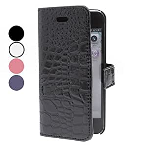 YXF Crocodile Skin Pattern PU Leather Case with Stand for iPhone 5/5S , Black