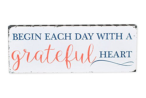 Begin Each Day With A Grateful Heart 5.5 x 15 White Wood Wall Art Sign Plaque