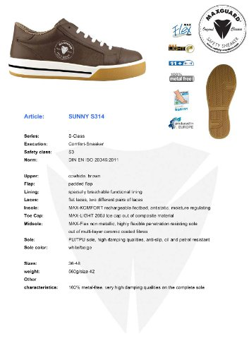 Sneaker SUNNY Maxguard Größe S3 41 S314 Halbschuh braun xEE4fqw