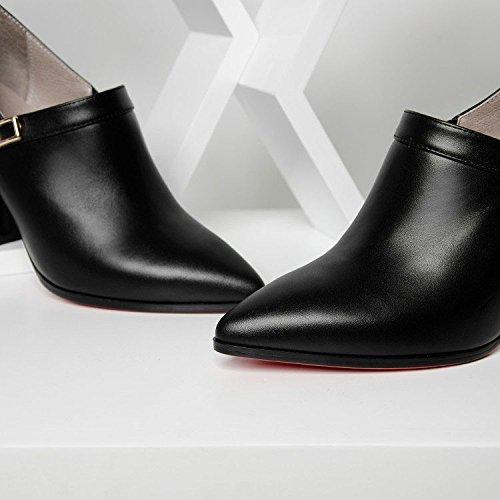 Femme Pointu Sauvage pour de Cuir DKFJKI de Travail Chaussures Mode Woof en Bouche Robes Black Noires Chaussures Talons Hauts Profonde XIqYU