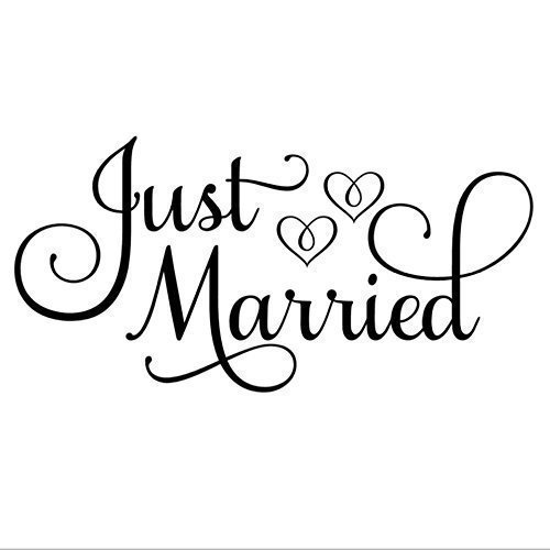 Just Married Car Decal, White 24''W x 12''H, Just Married Window Sticker