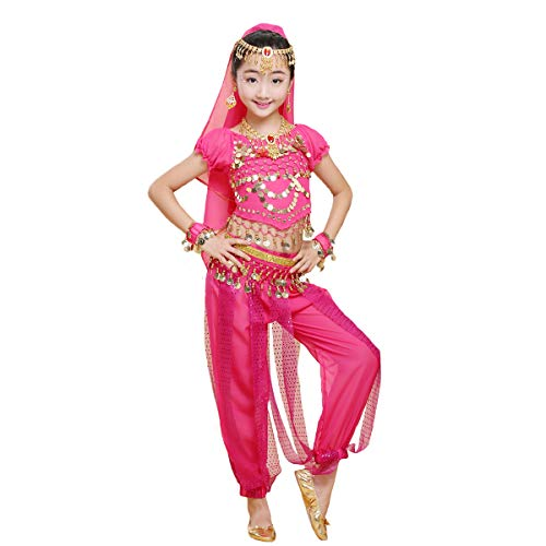 Maylong Girls Short Sleeve Top Harem Pants Belly Dance Outfit Halloween Costume DW64 (Medium, hot Pink)