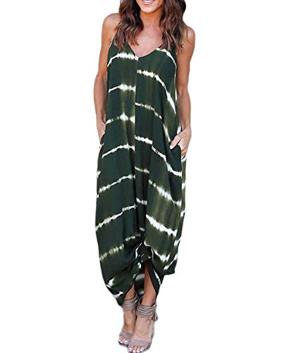Kidsform Sleeveless Maxi Dresses for Women Stripe Floral Bohemian Casual Loose V Neck Spaghetti Straps Adjustable Dress Summer Party Beachwear Plus Size with Pockets C-Army Green X-Large