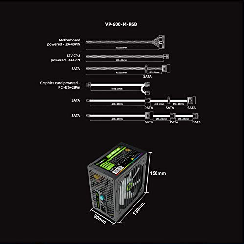 GAMEMAX Power Supply VP Series 600W Semi Modular 80 Bronze Certified with RGB Light