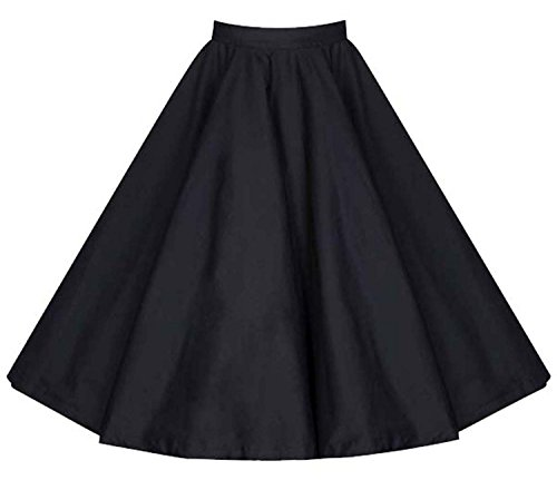 Aecibzo Full Circle 1950's Floral A-Line Pleated Vintage Skirts for Women Plus Size (XXL, Black) (Circle Full Skirt Pleated)