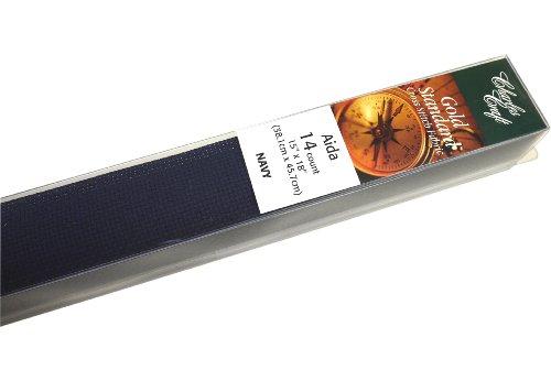[해외]DMC GD1436-5225 클래식 리저브 골드 라벨 아이다 패브릭 박스, 네이비, 14 카운트/DMC GD1436-5225 Classic Reserve Gold Label Aida Fabric Box, Navy, 14 Count