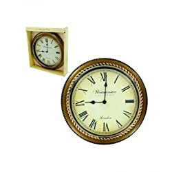 Roman Numeral Wall Clock, Gold and Black Surface for Home and Office Decor