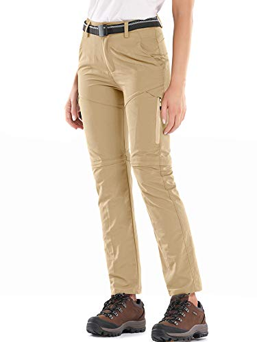 Jessie Kidden Women's Outdoor Quick Dry Convertible Hiking Stretch Cargo Pants#5818-Khaki, US L 36
