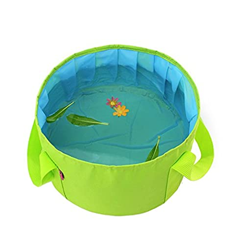 Wash Basin , MTFY Camping Portable Collapsible Washbasin Water Container Fishing Bucket Hiking Picnic Vegetables Fruit Basin with Carrying Pouch (Tall Double Sink Vanity)