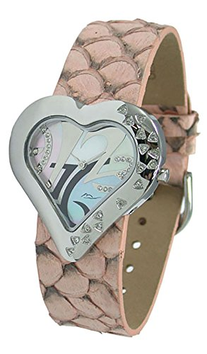 Moog Paris Heart Saint Valentine Women's Watch with Silver Mother of Pearl Dial, Salmon Genuine Leather Strap & Swarovski Elements - M44334-007