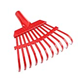 ORIENTOOLS Steel Leaf Rake, Garden Shrub Rake Head Only (Red, 11 Tines, 8.66')