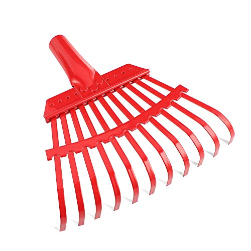 (ORIENTOOLS Steel Leaf Rake, Garden Shrub Rake Head Only (Red, 11 Tines, 8.66