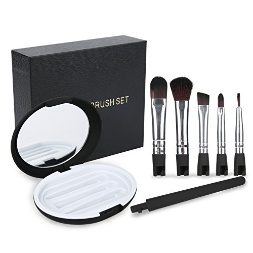 ARTIFUN 5 Pcs Detachable Travel Makeup Brushes Set,Face Eye Shadow Eyeliner Foundation Blush Lip Powder Liquid Cream Blending Brush with Box ()