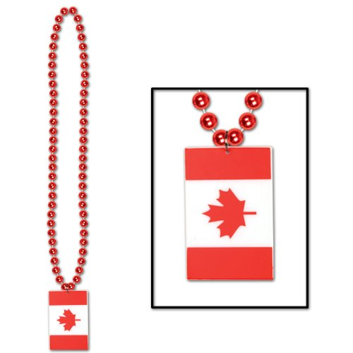 Beads w/Printed Canadian Flag Medallion Party Accessory (1 count) (1/Card) (Halloween Costumes Canada)