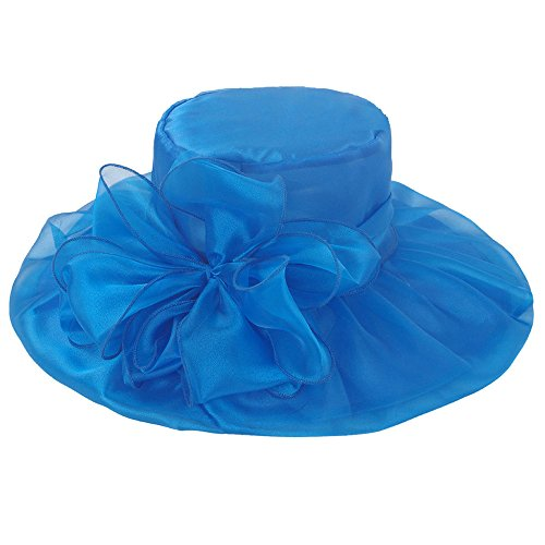 (ICSTH Womens Organza Kentucky Derby Church Party Floral Wide Brim Summer Hat (One Size, Blue))