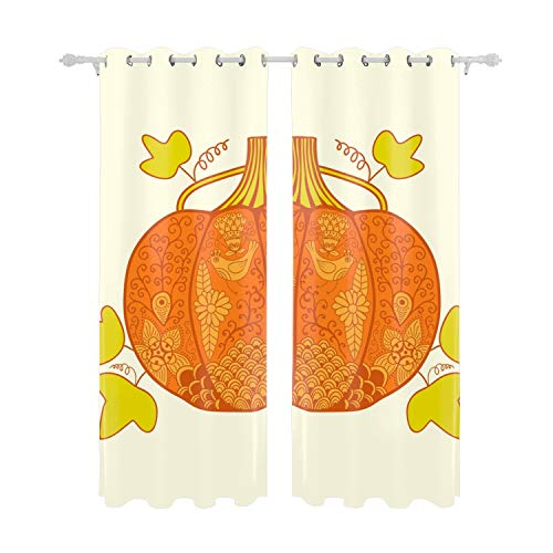 Verna Christopher Ornated Pumpkin Stylized Halloween Card Home Decor Curtains Living Room Bedroom Window Drapes 2 Panel Set 55 W X 84 L inches Multi-Colored ()