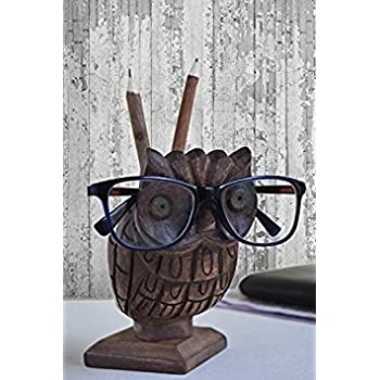 Wooden Owl Eyeglass Holder + Pen Pencil Stand + Phone and Remote Holder Spectacle Stand- HANDCRAFTED