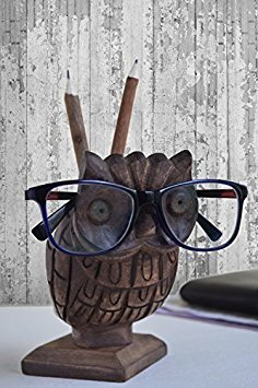 Wooden Owl Eyeglass Holder + Pen Pencil Stand + Phone and Remote Holder Spectacle Stand- - Frames Trending Spectacle