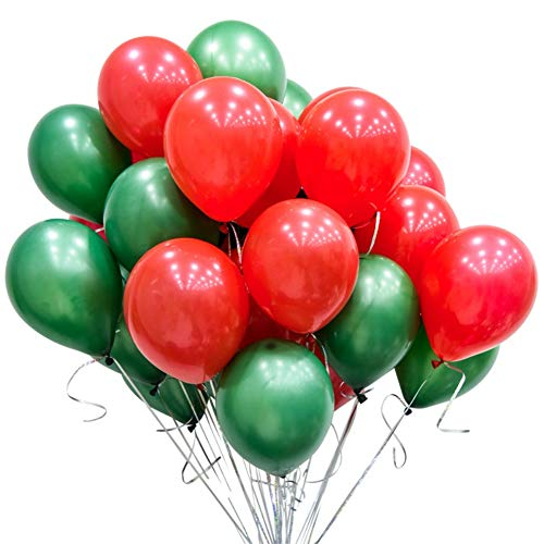 GuassLee 100pcs Merry Christmas Balloons 10 Inch Red and Green Balloons Balloons for Christmas Themed Party Decorations