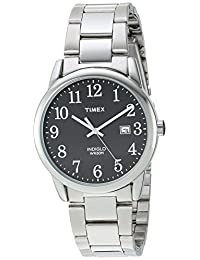 Timex Men's TW2R23400 Easy Reader Silver-Tone/Black Stainless Steel Bracelet Watch