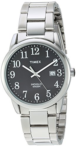 Timex Men's TW2R23400 Easy Reader Silver-Tone/Black Stainless Steel Bracelet Watch (Watch Large Bracelet)
