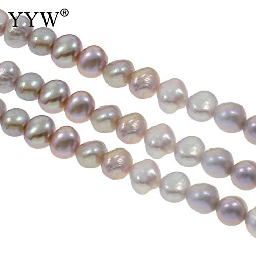 Calvas Cultured Baroque Freshwater Pearl Beads Natural 7-8mm Charms Beads for Necklace Bracelet Jewelry Making Pink Purple White Color - (Color: Purple)