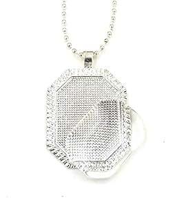 Amazon 24 deannassupplyshop 22x30mm octagonal pendant trays 24 deannassupplyshop 22x30mm octagonal pendant trays with 18 inch ball chain with glass silver aloadofball Gallery