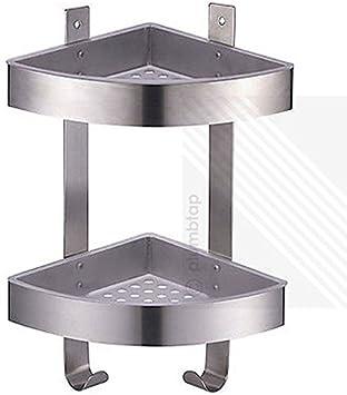 Generic Moderno Cepillado Cromado estantería esquinera de Ducha | estantería Doble Cesta con Ganchos 1 & 2773 * 1 >: Amazon.es: Electrónica