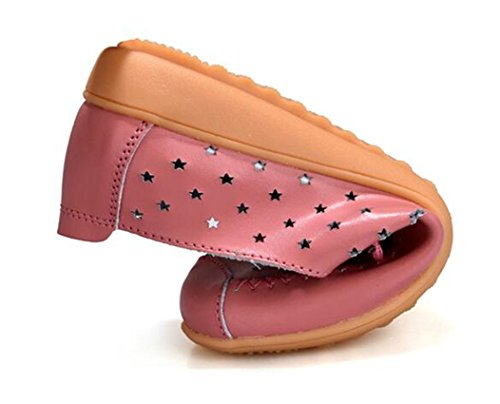 Hollow Driving Bumud Pink Slip Summer M Flat Women's Out B Leather US Boat Shoes Casual On Loafer 9 EUwAfq1n