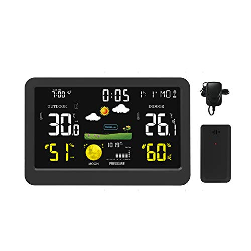 Weather Station, Home Wireless Weather Forecast Station with Indoor/Outdoor Sensor Colorful LCD Digital Temperature Humidity Weather Monitoring radio controlled Alarm Clocks,Moon Phase - Black (Black)