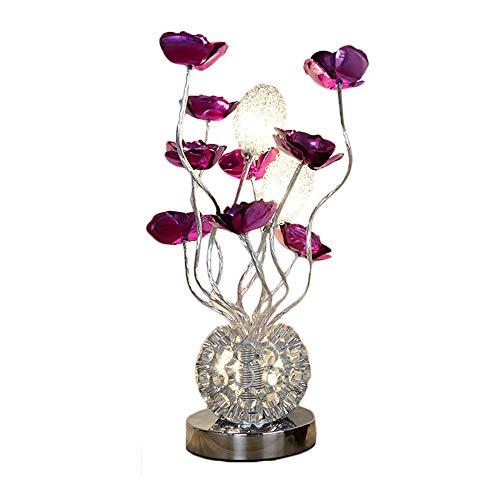 Belief Rebirth Vase Table Lamp - Modern Decor Aluminum Flower Lights G4 LED 3x2W, Brushed Chrome Base Nightstand Desk Lamps Desktop Light for Living Room, Bedroom (Color : SliverPurple)
