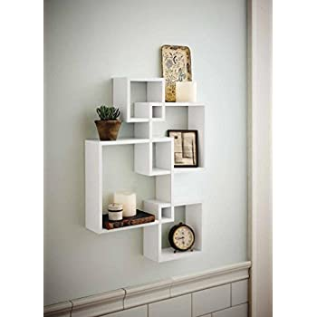 shelving solution intersecting decorative white color wall shelf set of 6 2 candles included