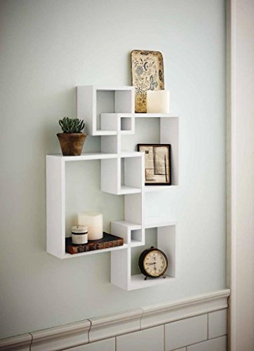 Shelving Solution Intersecting Squares Floating Shelf ,2 LED Candles Included (White) (Connector Square Corner)