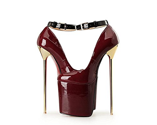 Stiletto imperméables Sexy Pompes Single Fall Dressy EUR40UK7 artificielles Cheville Nouveau Party Nightclub Wedding High Dames WINERED Bracelet Spring NVXIE Superficiel Femmes Red Bain PU Black Shoes Heel wOqtaxI