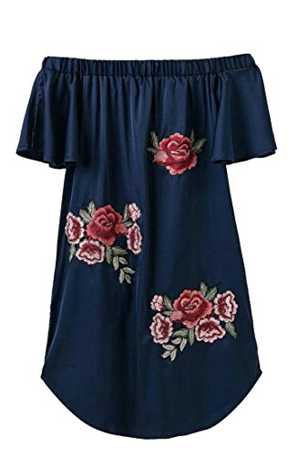 Shoulder Embroidery Dress Navy Blue Short Off Sexy Womens Stylish Cruiize qpBtFF