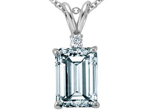 Tommaso Design(tm) Emerald Cut 7x5 mm Genuine Aquamarine and Diamond Pendant in 14 kt White Gold