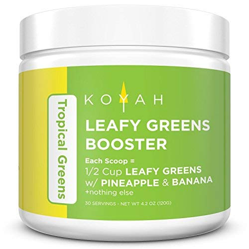 KOYAH - Organic Leafy Greens Superfood Powder - Tropical Greens: 1 Scoop = 1/2 Cup of Leafy Greens with Pineapple & Banana (30 Servings), 100% Freeze-Dried, Whole-Food