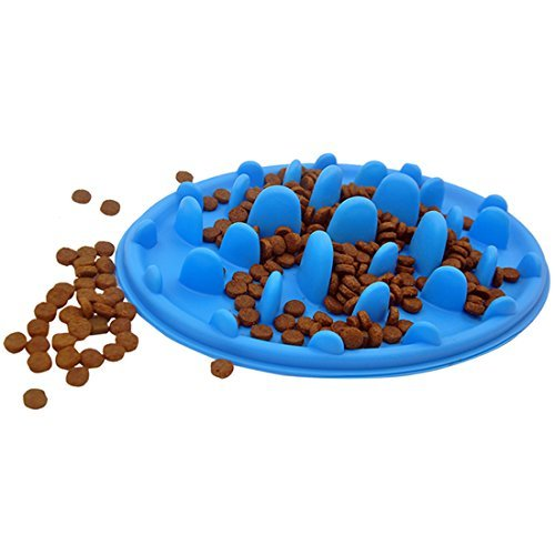 FineInno Pet Slow Food Feeder Dish Elliptical Interactive Silicone Bowl with Smooth Insert Portable and Safe for Cats & Dogs to Prevent Bloating, Overweight, Boring Smooth Elliptical