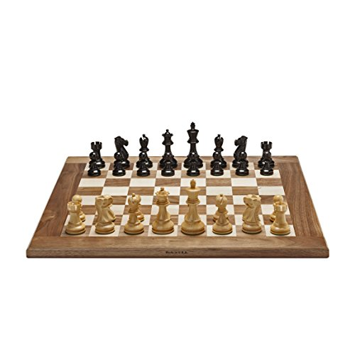 Kari Wood Chess Pieces - Wood Expressions Grand Jacques Chess Set - Weighted Pieces & Solid Walnut/Maple Board 20 in. (Made in USA)