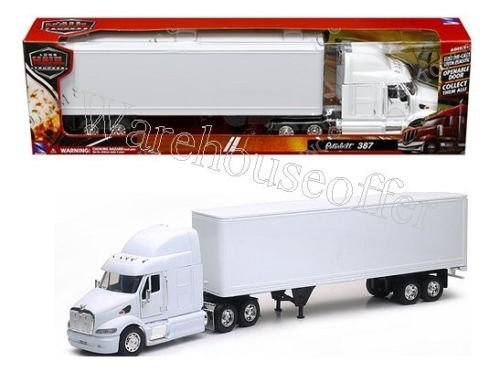 NEW 1:32 NEWRAY TRUCK & TRAILER COLLECTION - PETERBILT 387 TRAILER SEMI PLAIN WHITE Diecast Model By NEW RAY TOYS ()