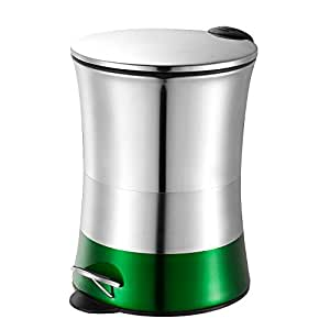 5l Stainless Steel Foot Pedal Metal Trash Can Bin With Lid Green Home Kitchen