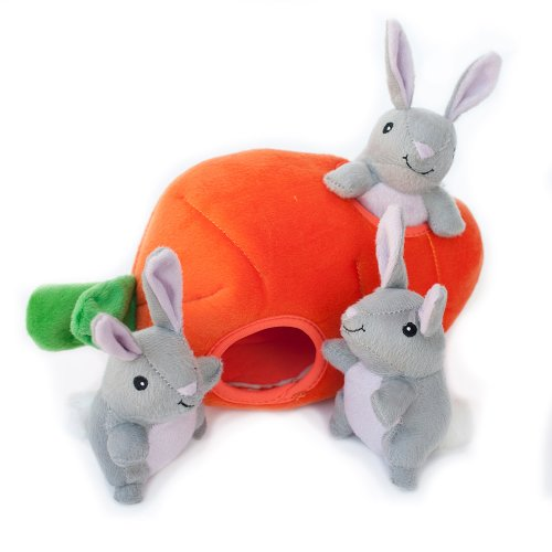 (ZippyPaws Burrow Squeaky Hide and Seek Plush Dog Toy, Bunny 'n Carrot)